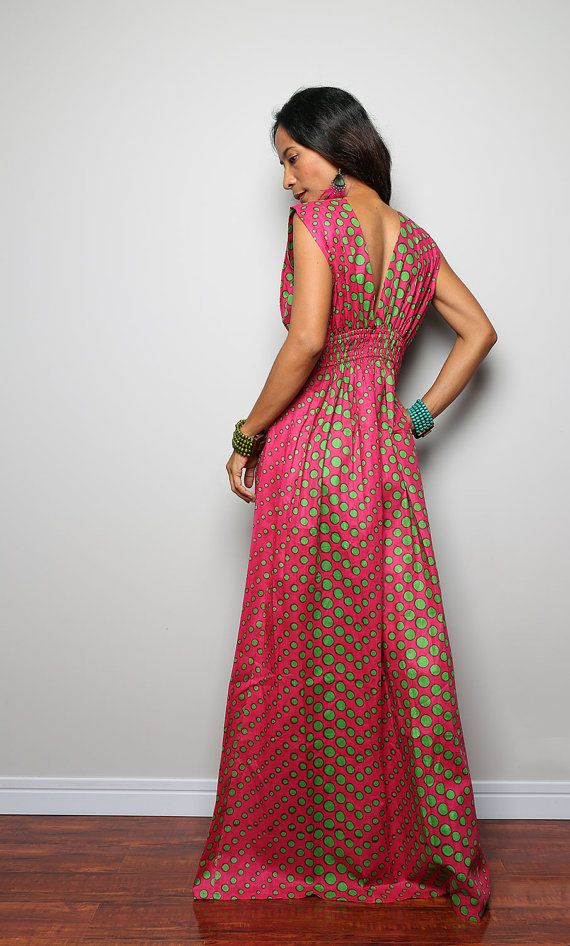 Maxi Dress - Funky Polka Dot Dress : Oriental Secrets Collection