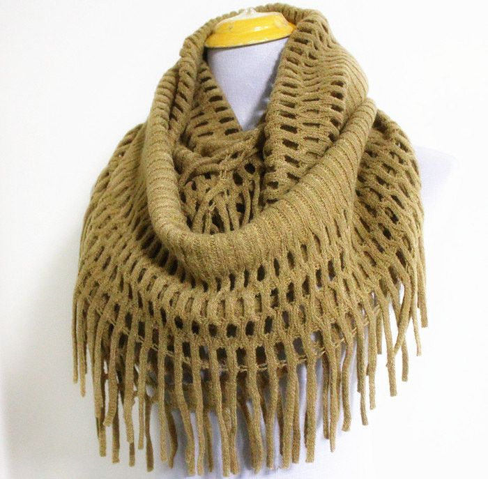 Chunky Mocha Brown Knitted Infinity Scarf with Tassles