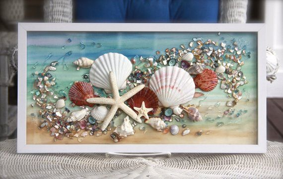 Sea Glass Art For Beach Decor Seashell Wall Art For Nautical Seashell Wall Art Sea Glass Art Sea Glass Crafts