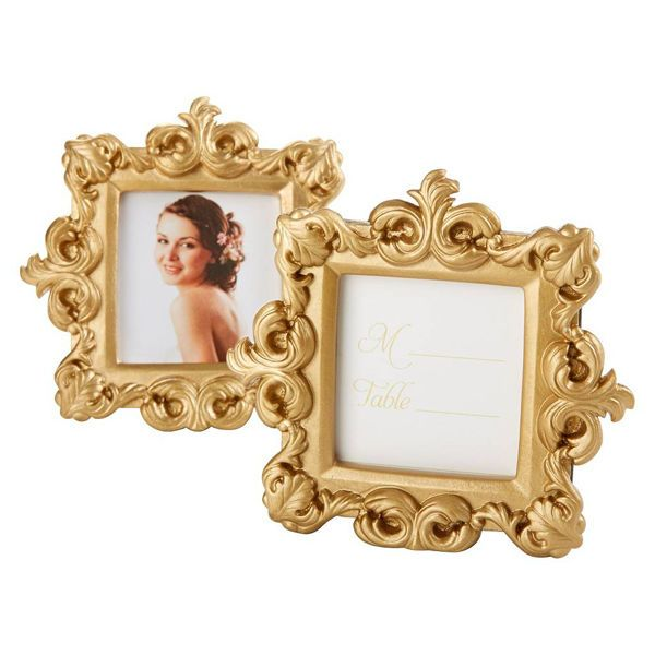 This baroque frame with its matte-gold finish can be used as an eclectic place card holder or to showcase a photo of you and your sweetie. Either way, it will give your white and gold wedding instant grandeur.