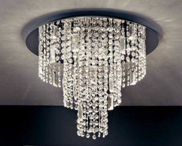 Plafoniere Con Pendenti : Plafoniera led in cristallo struttura acciaio e alluminio con