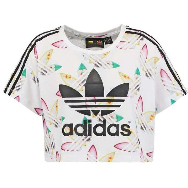 adidas Originals PHARRELL WILLIAMS (£23) ❤ liked on Polyvore featuring tops, t-shirts, shirts, crop top, white crop top, t shirt, print t shirts, white tee and white crop tee