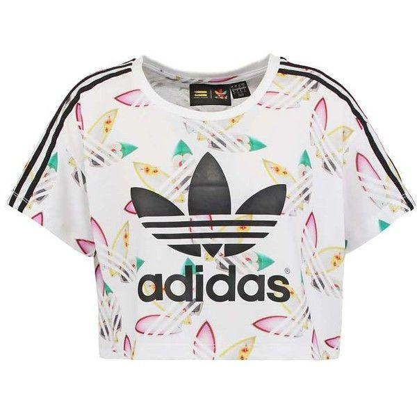 adidas Originals PHARRELL WILLIAMS found on Polyvore featuring tops, shirts, crop top, blusas, pattern shirts, crop shirt, print top, print crop top and shirt tops