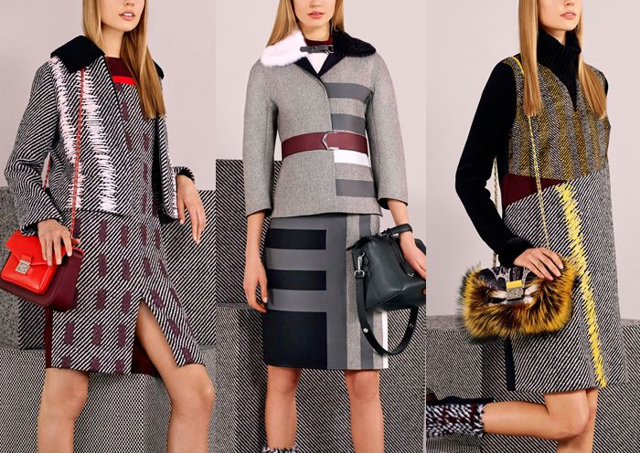 Fendi – Pre Fall 2014-Solid Colour Placement - Dip-dyed Ombré Look – Masculin Colour Blocking – Weave and Texture Mixes – Oversew Effects