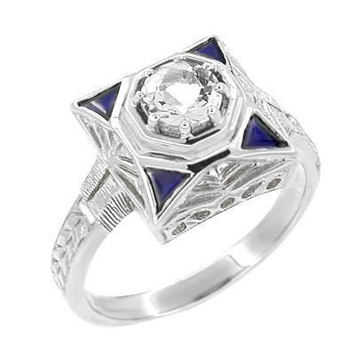 Art Deco Filigree Triangle Sapphires 1 2 Carat Diamond Engagement Ring In 14 Karat White Gold Engagement Rings Vintage Engagement Rings Diamond Engagement Rings
