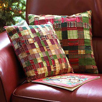 Woven plaid pillows