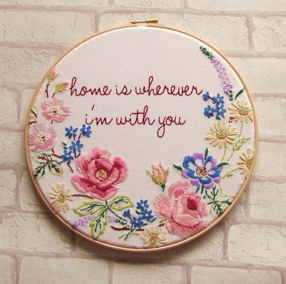 Edward Sharpe and the Magnetic Zeros 'Home is Wherever I'm With You' Hand Embroidery Hoop Art /Vintage /Kitsch/Floral/Home Decor/ Wall Ar op Etsy, 46,03€