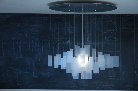 :: LIGHTING :: Canadian made, Propellor Design, Ecoresin chandelier with aluminum canopy
