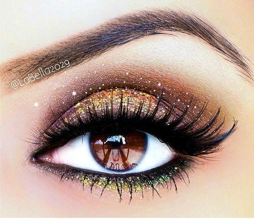 Chocolate & Gold Glamour eye #makeup #brown eyes