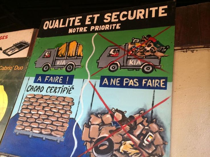 Sign at cocoa co-operative in Ivory Coast