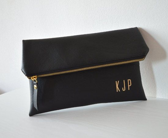 Black clutch with gold monogram / Personalized by navesdesign