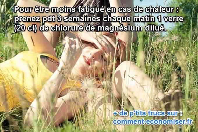 Avez-vous déjà remarqué que la chaleur vous rendait plus fatigué, parfois même stressé ? Lorsqu'il fait chaud, on transpire. Et on perd du magnésium. Pour combler ce manque, il n'y a qu'un remède naturel efficace : le chlorure de magnésium.   Découvrez l'astuce ici : http://www.comment-economiser.fr/chlorure-magnesium-chaleur.html?utm_content=buffer93f07&utm_medium=social&utm_source=pinterest.com&utm_campaign=buffer