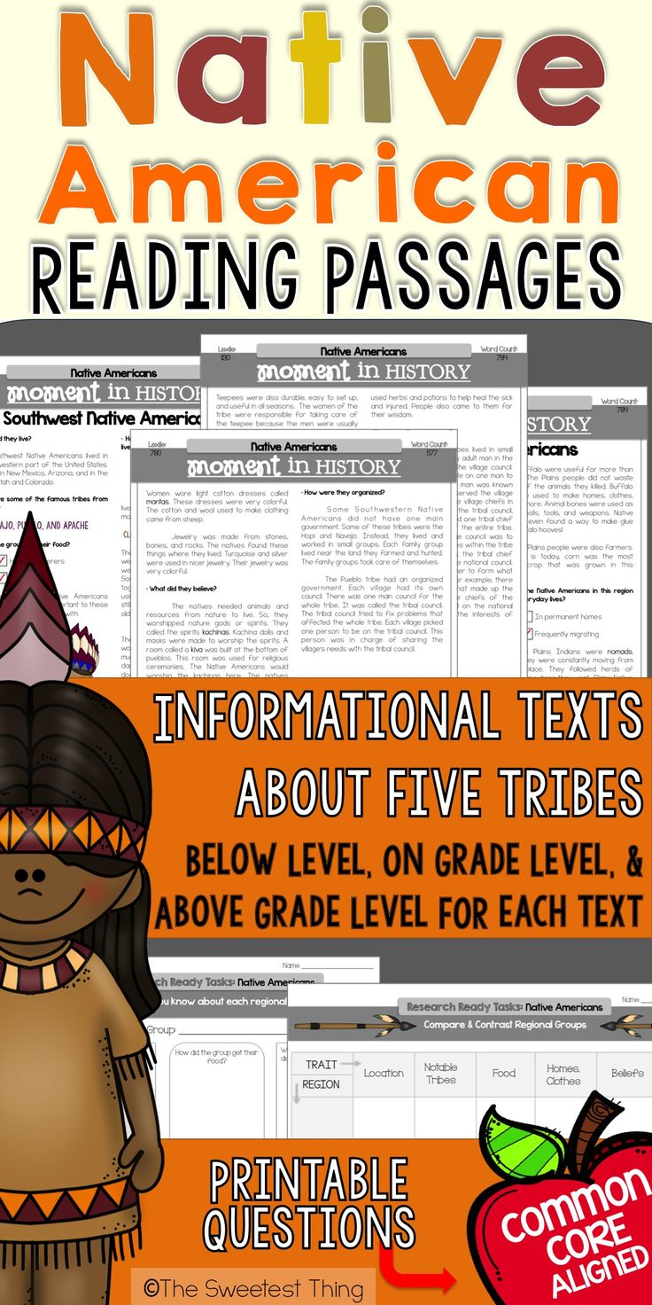 Native American reading passages about each tribe! These are perfect for guided reading + social studies/ELA integration! Lexile levels + common core printable questions included!