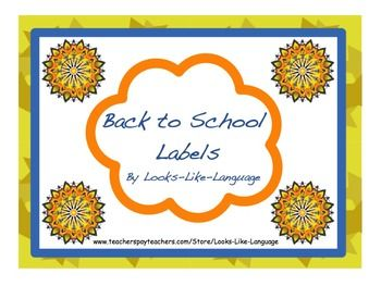 Back to School Labels Freebie by Looks-Like-Language to help you get your year off to an organized start!