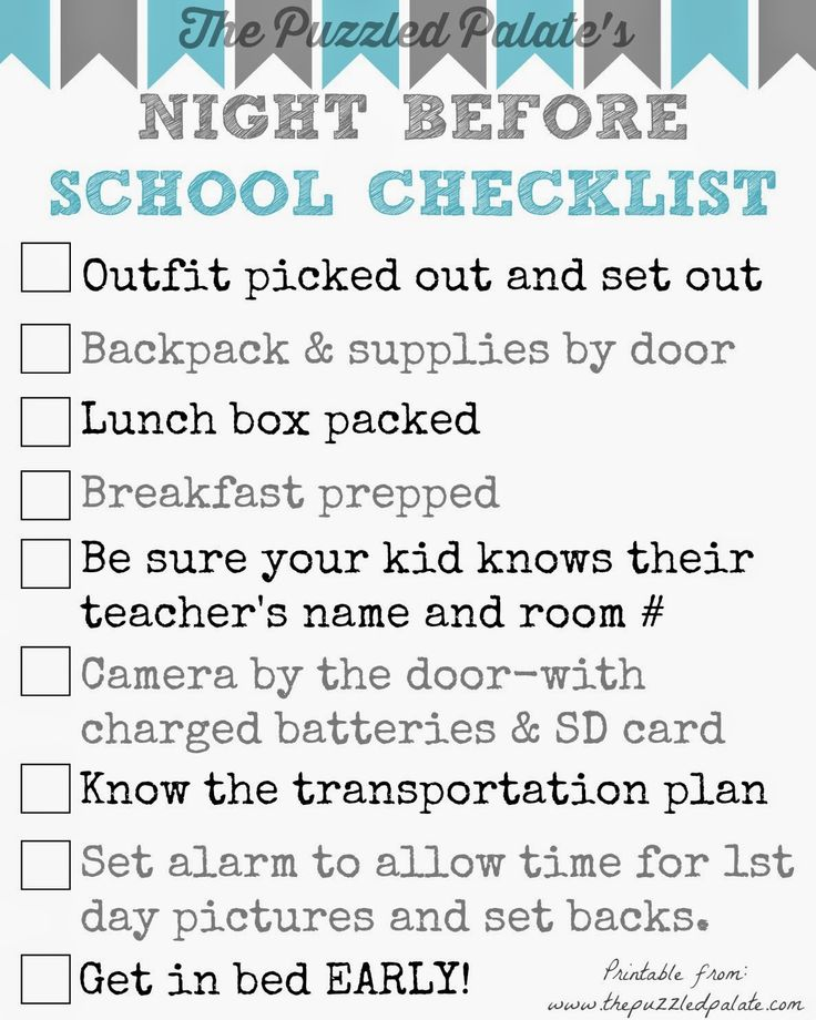 Back to School Checklist- Printable  Don't forget anything in the morning! Get everything in line the night before! Printable by @puzzledpalate
