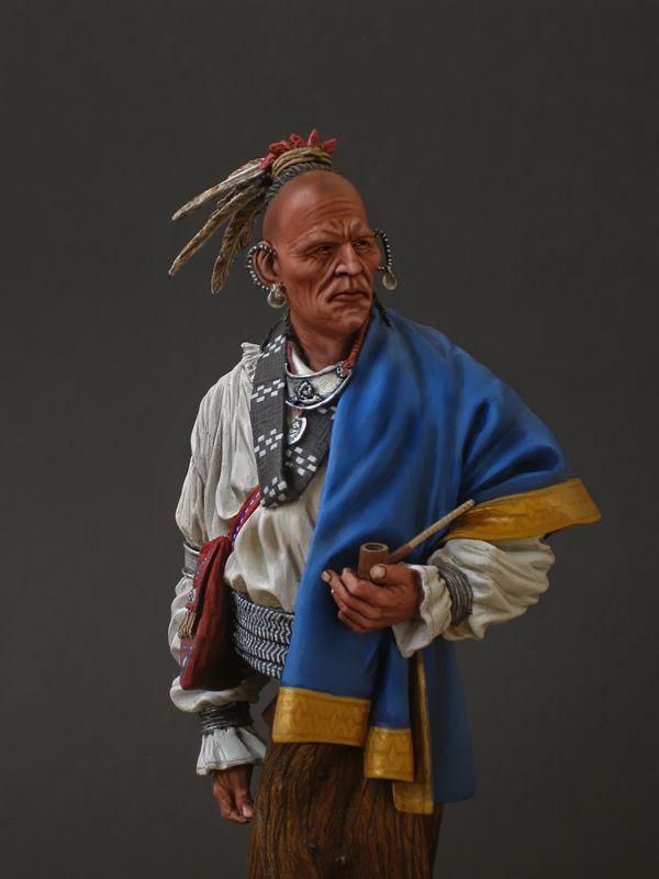 Начну с вождя племени чероки - бюст (полфигуры) Stormtroopers, скульптура Карла Рейда, краски пва-темпера, основание самодельное.