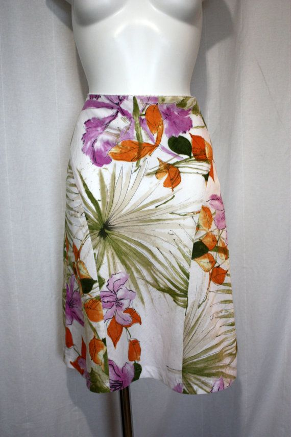 Summer linen skirt lilac orchids tropical print side zip 90s Taifun waist 28 inches
