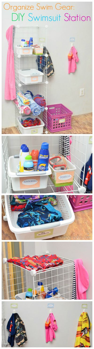 How to keep all your beach / pool gear organized neatly in one place this summer - DIY Swimsuit Station
