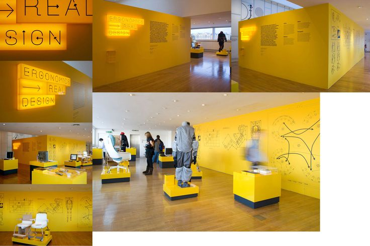 Exhibition identity, applied graphics and brochure, bespoke display typeface, Ergonomics — Real Design, Design Museum London, by a2/sw/hk / Exhibition design by Michael Marriot