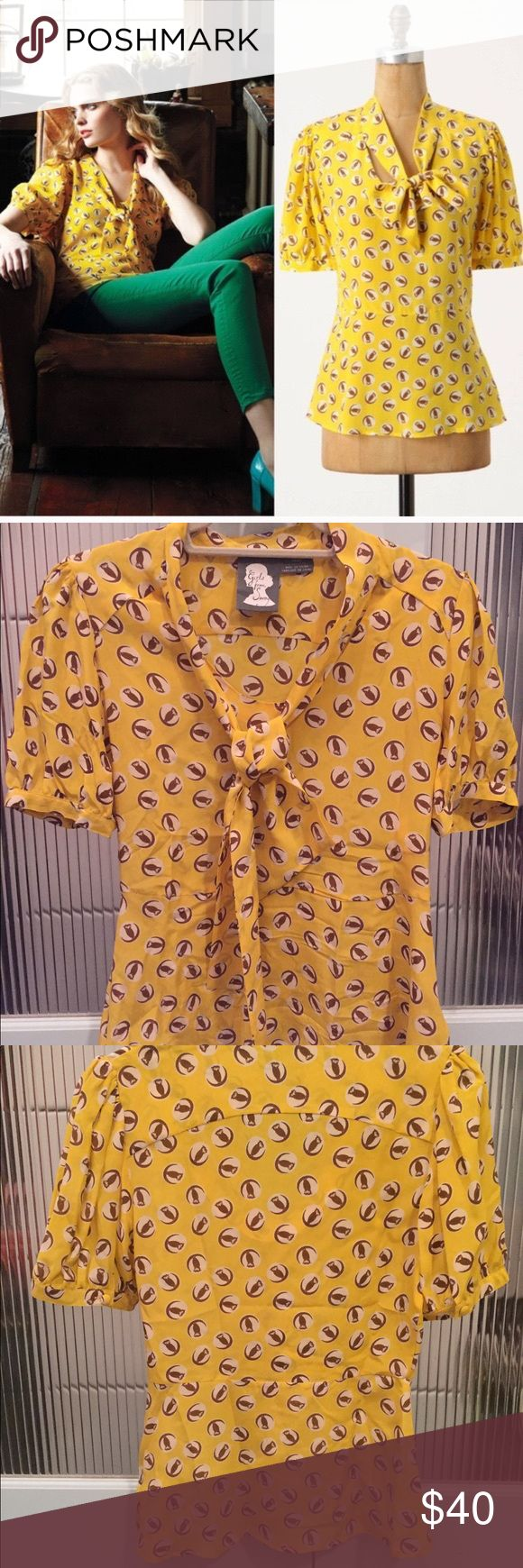 Girls from Savoy blouse Girls from Savoy lemon liftoff blouse. 100% silk, side zipper, tie in front. Adorable owl print. Anthropologie Tops Blouses