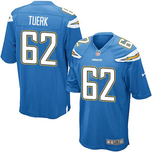 mens nike los angeles chargers 62 max tuerk game electric blue alternate nfl jersey