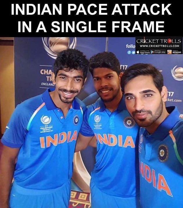 Jasprit Bumrah Umesh Yadav and Bhuvneshwar Kumar #CT2017 For more cricket fun click: http://ift.tt/2gY9BIZ - http://ift.tt/1ZZ3e4d