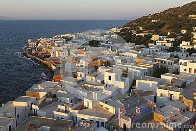 Early afternoon view of Mandraki, the main village and port of the little island of Nisyros, in Dodecanese, southern Greece.