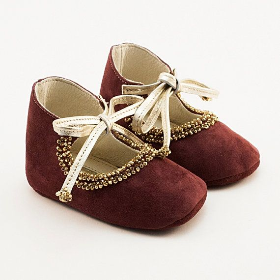 Dark purple baby shoes from leather for the princess!!!