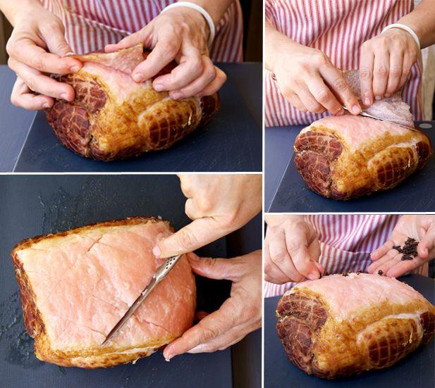 Scoring the roast ham