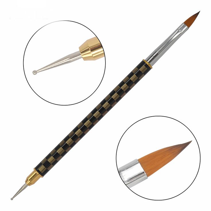 LCJ 1 Pc High Quality Nail Pens / Copper Metal Handles Dual-use Manicure Dotting Pen / Professional Nail Art Brush 08