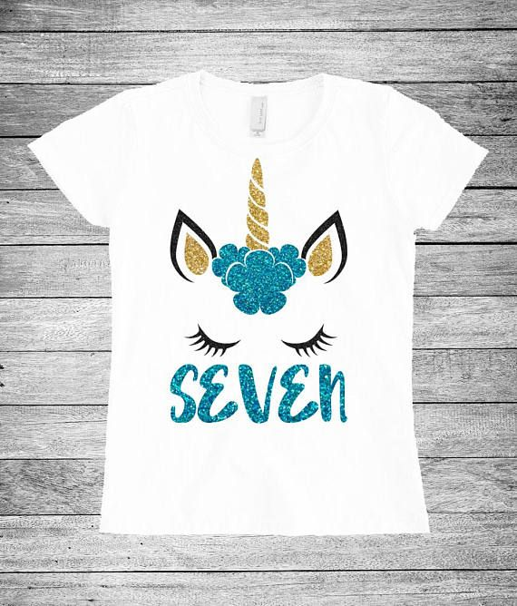 Seven Unicorn Birthday Shirt 7th Girl Outfit In 2018