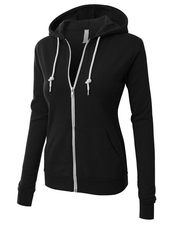 LE3NO LE3NO PREMIUM Womens Active Soft Fleece Zip Up Hoodie Jacket