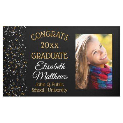 Confetti Photo Congrats Graduate Name | School Banner - graduation gifts giftideas idea party celebration