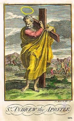 """Burkitt's Expository - """"ST. ANDREW the APOSTLE"""" - Hand-Colored Eng -1752"""
