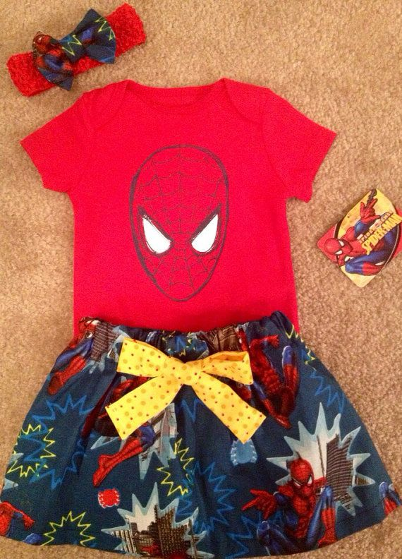 Super Hero Spiderman outfit baby girl skirt Dress up Set with hair matching Bow headband Size 3-6 months READY TO SHIP