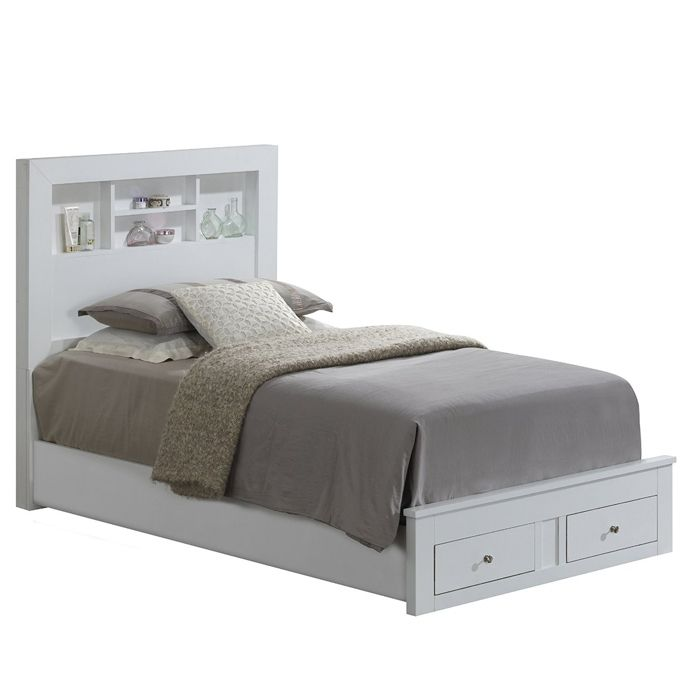 Wooden Frame Storage Bed with 2 Dove-Tailed Footboard Drawers and Headboard Shelves for Accent Pieces
