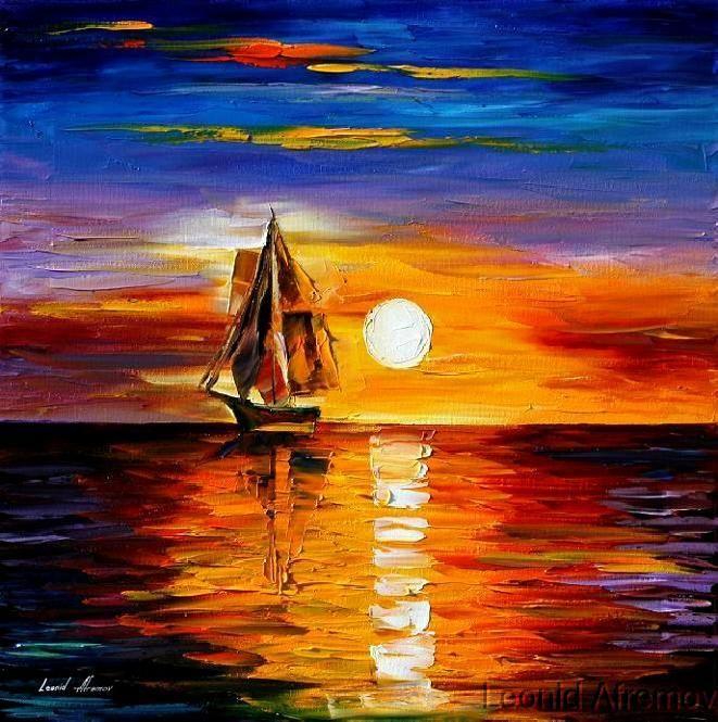 Закат на море картинки красками, днем