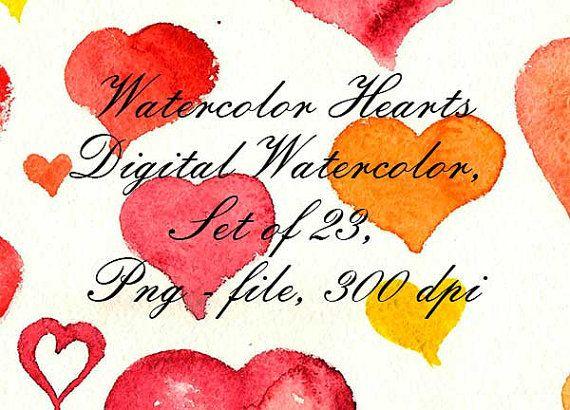 Watercolor Hearts Watercolor Clip Art Digital от VectorGraphicArts