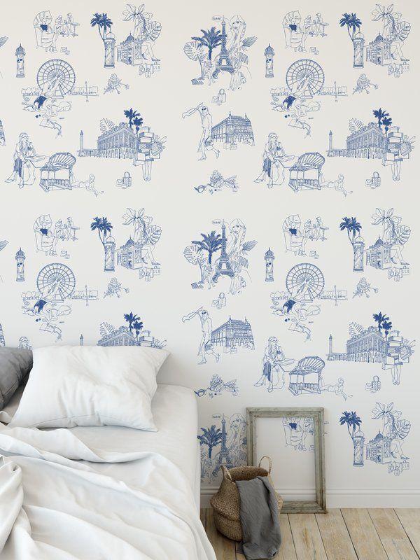 Toile De Jouy 48 L X 24 W Peel And Stick Wallpaper Roll Elle Decor White Wallpaper Loft Decor Industrial