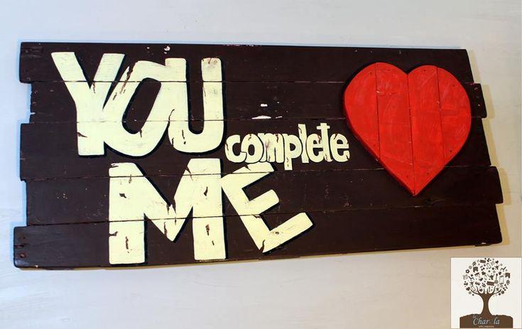 Cartel Rústico con mensaje de amor y con un corazón de madera maciza S/.60.oo  hecho todo a mano pallets reciclados, pintura satinada y acrílica  medidas 1.05 x 0.47 mt. listo para colgar  - by La Charola https://www.facebook.com/LaCharolaPeru