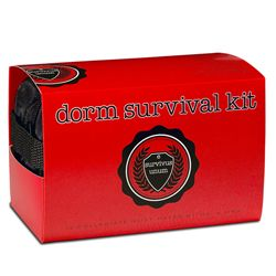 "Dorm Survival Kit:  ""Unfortunately, in most dorm rooms it's easier to find a bottle opener than a band-aid. The Dorm Survival Kit, from Ms. & Mrs., will help them be prepared for more than just Saturday night. From studying to sleeping, and everything in between, the Dorm Survival Kit will make moving in with a bunch of crazy strangers a little less painful."""