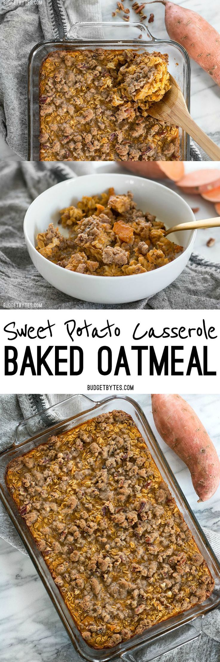 Sweet Potato Casserole Baked Oatmeal is a great way to have your favorite Thanksgiving side as a nutrient packed breakfast. @budgetbytes