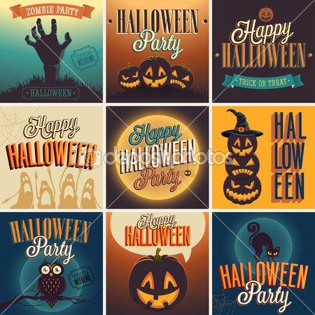 Halloween Posters set. — Ilustración de stock #31536789