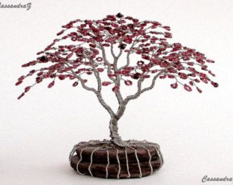 Wisteria Beaded Bonsai Wire Tree Sculpture MADE TO by CassandraZ