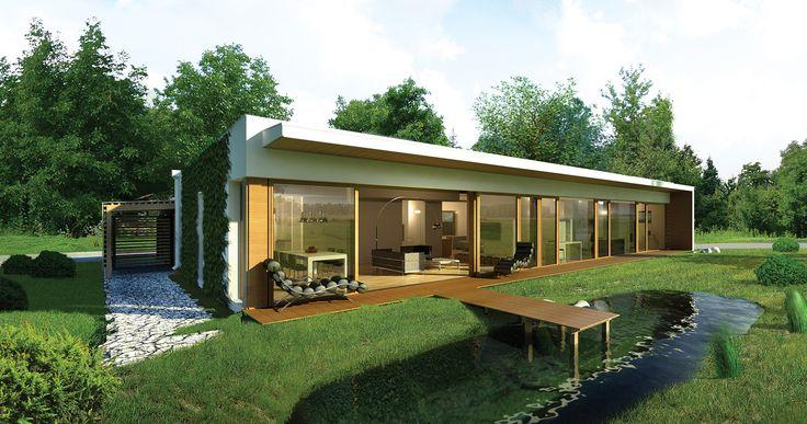 """""""Dom oszczędny"""" (z wentylacją mechaniczną) Murator EC317 - na uwagę zasługuje elewacja ogrodowa, cała przeszklona, dlatego autor projektu sugeruje aby była ona skierowana w stronę południową (z odchyleniem +/-35 stopni)."""