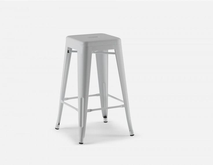 HUDSON - Iron counter stool 26'' - White