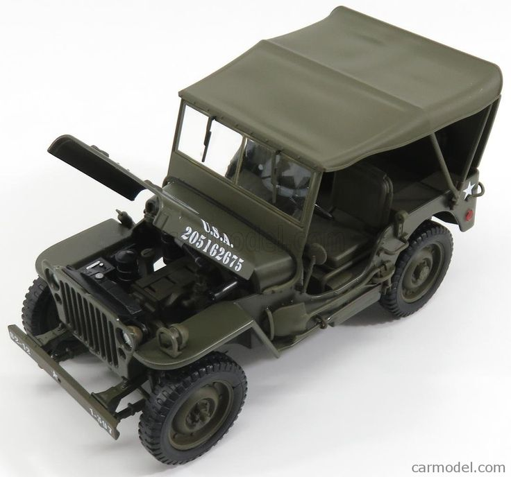 WELLY WE18036USarmyST Scale 1/18  JEEP WILLYS 1/4 MB USA ARMY SOFT-TOP CLOSED 1945 MILITARY GREEN