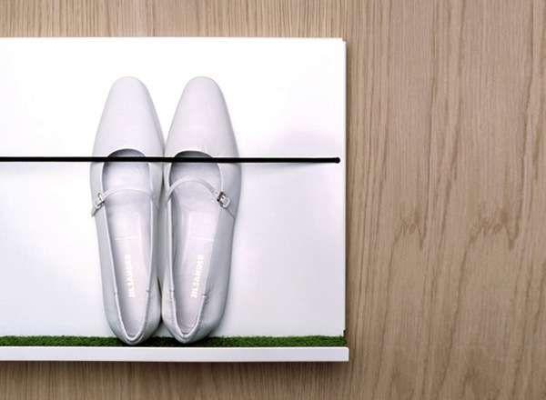 DIY project?????  Wall-Mounted Sneaker Racks - Martina Carpelan's Shoe Shelf Keeps Footwear Off the Ground (GALLERY)