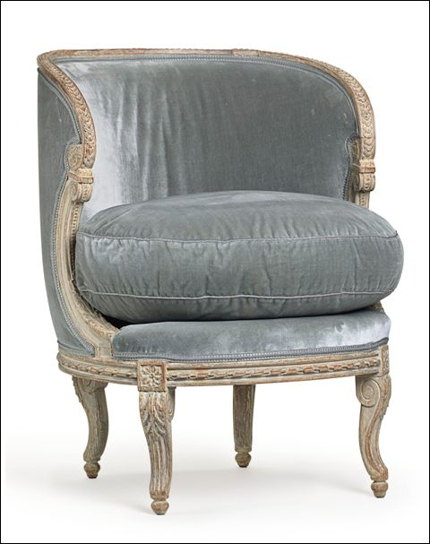 great color, love the finish: Grey Ideas, Blue Velvet, French Greypaint, Chairs Fabrics, Slippers Chairs, French Chairs Antiques, Club Chairs, Frenchinspir Chairs, French Grey Paintings