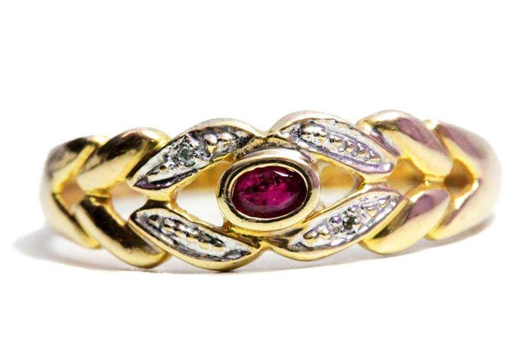 Brillanten Gold Ring Rubin 333 Diamant